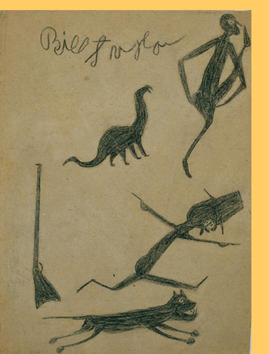 Figures, Animals, Guns (Exciting Events) by Bill Traylor / Menil Collection