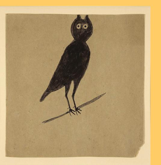 Bill Traylor (American, 1854-1949) Owl, 1947-50